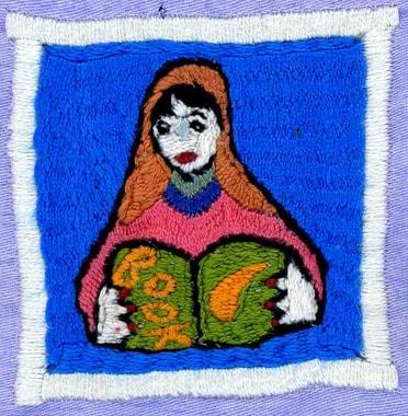 Auf den Dörfern und unter den Stickerinnen wächst ein Bewusstsein für das Lesen und die Schule. Stickerei von Bibiawa