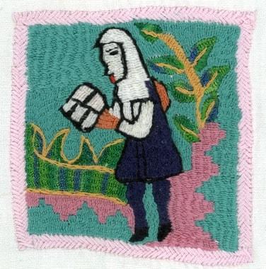 Auf den Dörfern und unter den Stickerinnen wächst ein Bewusstsein für das Lesen und die Schule. Stickerei von Nazia