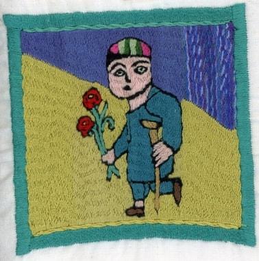 Auf einmal sticken die Frauen Bildmotive zu den Männern. Stickerei von Bibiaisha: Krüpel unterwegs mit Blumen -ganz Afghanistan in einem Quadrat!