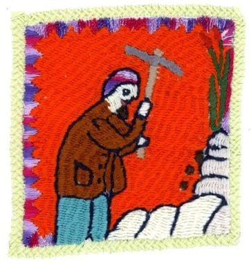 Auf einmal erzählen die Stickerinnen über die Männer. Stickerei von  Sarwagul: Mann im Steinbruch tätig