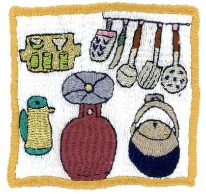 Stickerei mit Küchenmotiven von Rubina