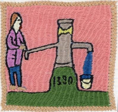 Stickerei von Sarwagul: Wasserpumpe für die Gemeinschaft
