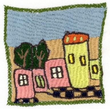 De nombreux habitants des villages rénovent leur maison et leur cour ; on ressent que le sentiment de sécurité a pris les devants. Broderie réalisée par Latifa