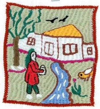 De nombreux habitants des villages rénovent leur maison et leur cour ; on ressent que le sentiment de sécurité a pris les devants. Broderie réalisée par Sawargul