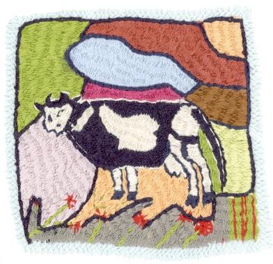 De nombreuses familles achètent une vache au sortir de l'hiver pour la revendre juste avant l'hiver suivant ; la famille peut ainsi compter sur son lait et sa bouse qui sert de combustible. Broderie réalisée par Monika