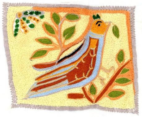Stickerei von Shala, die ganze Fläche besteht aus Kettenstichen