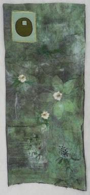 """Werk von Margreth Rössler-Wacker mit gepressten Blumen von Nigellas, deren Samen in der Bäckerei angewendet werden. Sie können nach dem Rezept vom Kuchen """"rot"""" fragen."""
