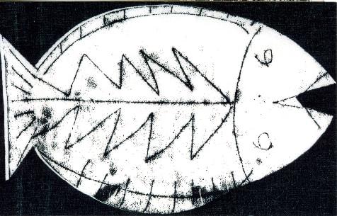Un des trois poissons imprimés avant la broderie
