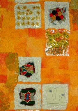 """Textilarbeit """"Sommerlicher Garten"""" von Gabi Mett, detail"""