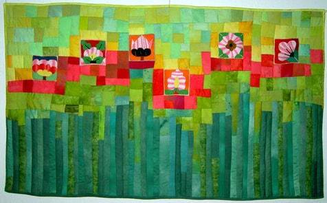 """Shafiga's flowers"", quilt by Monika Sebert-Müller"