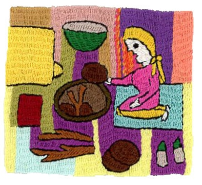 Use of <em>pati</em> in the kitchen, embroidered by Meshgan