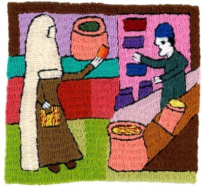7) Die Mutter geht zum Bazar,  kauft Lebensmittel ein.