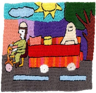 8) Die Mutter fährt mit der Rikscha nach Hause.